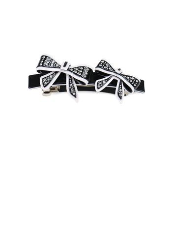 Glamorousky white Fashion Temperament Black Ribbon Hair Slide with Cubic Zirconia BBB90AC2F4C6E1GS_1