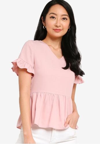 ZALORA BASICS pink V Neck Short Sleeve Peplum Top AB1A9AA4299055GS_1