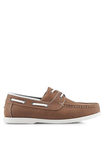 ZALORA brown Faux Leather Classic Boat Shoes F732ASH43E25ABGS_1
