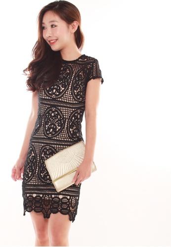 JOVET black Cap Sleeved Crochet Dress 978FAAAF395ABEGS_1