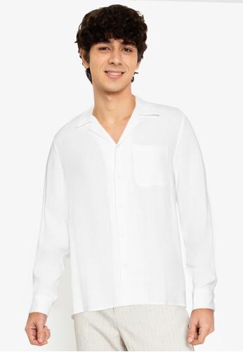 ZALORA BASICS white Camp Collar Pocket Shirt B8503AA9D76E40GS_1