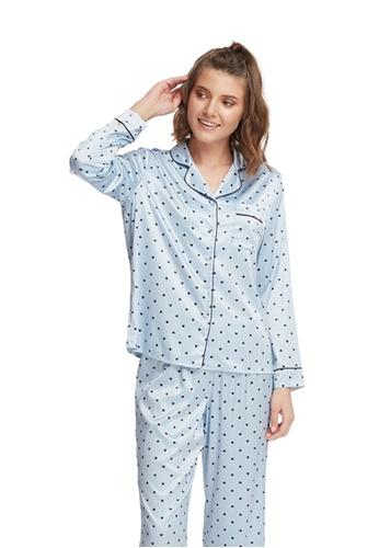 6IXTY8IGHT blue Embroidered Satin Long Sleeve Sleep Shirt  HW08288 D7700AA7633A92GS_1
