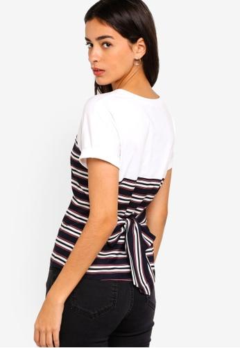 ZALORA multi Mixed Fabrics Top With Tie 739D3AAEAA21E4GS_1