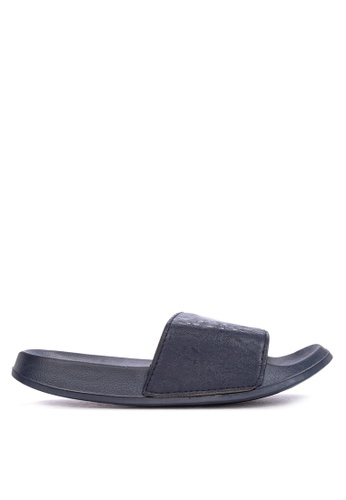 Penshoppe navy Synthetic Leather Sliders DCE7ASHD079004GS_1