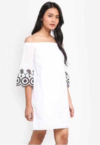 Dorothy Perkins white Ivory Broderie Bardot Dress 9820BAA77F37CFGS_1