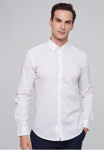 Sisley white Slim Fit Shirt E29C6AAEF5A982GS_1