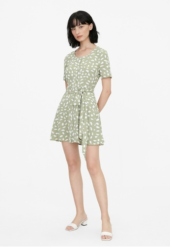 Pomelo green Abstract Speckled Button Up Dress - Green 0FD99AA6496D2EGS_1