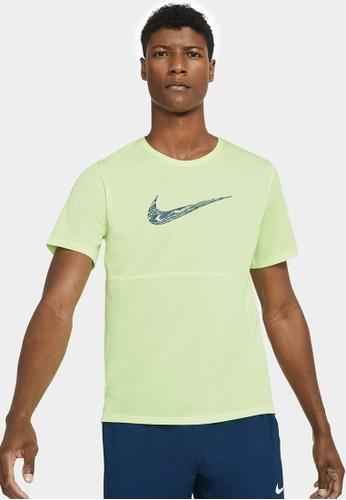 Nike green Men's Breathe Wild Run Top 348C7AA69C5C5DGS_1