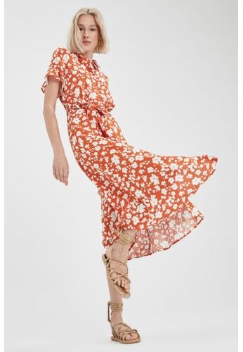 DeFacto brown Short Sleeve Midi Dress 7890AAA2E3AFBEGS_1