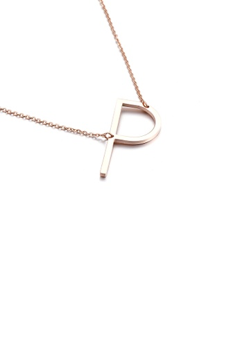 Glamorousky 銀色 時尚簡約鍍玫瑰金英文字母P 316L鋼吊墜配項鏈 95F60AC92EBE52GS_1