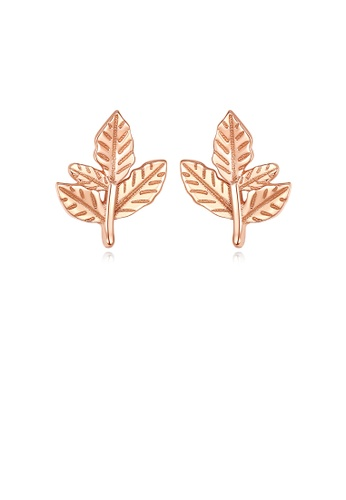Glamorousky silver 925 Sterling Silver Plated Rose Gold Simple Fashion Leaf Stud Earrings 88CB4ACA03187EGS_1