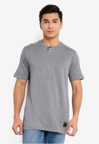 UniqTee grey Cotton Crew Neck Short Sleeve Tee D3412AA8ACA7BAGS_1