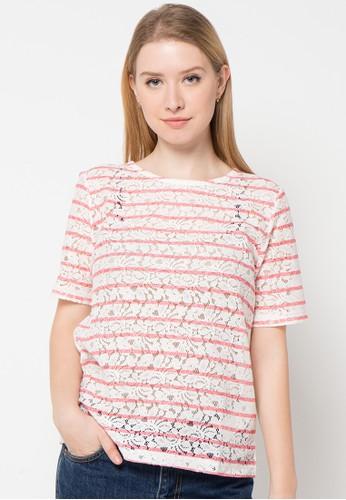 Bossini pink Elbow Slv Rnk Allover Stripe Prt Lace Tee B:23 BO894AA93IKOID_1