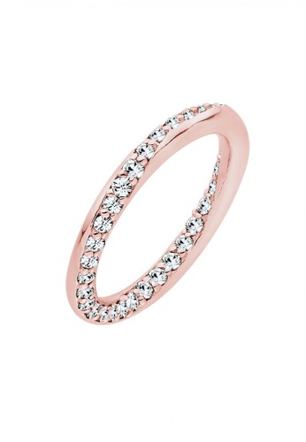 Elli Germany gold Perhiasan Wanita Perak Asli - Silver Cincin Turned Bandring Crystal Rosegold Plated 44D80AC3ACCBE8GS_1