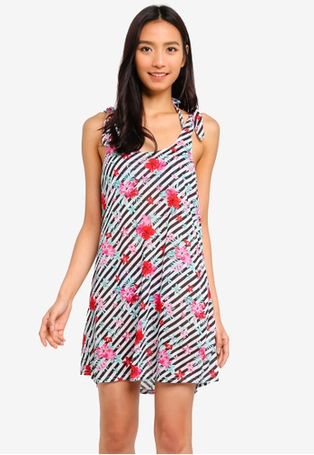 OVS white and multi Knot Shoulder Mini Dress 0A6CBAA5528E88GS_1