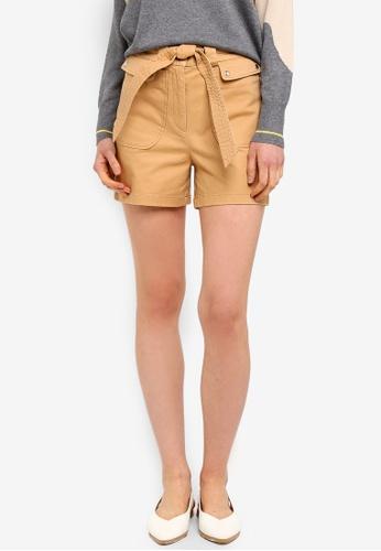 ESPRIT brown Woven Waist Tie Shorts 3947DAA331C9F5GS_1