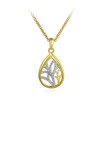 Glamorousky white Fashion Plated Gold Water Drop-shaped Pendant with Austrian Element Crystal and Necklace 2B8D8AC5A726F1GS_1