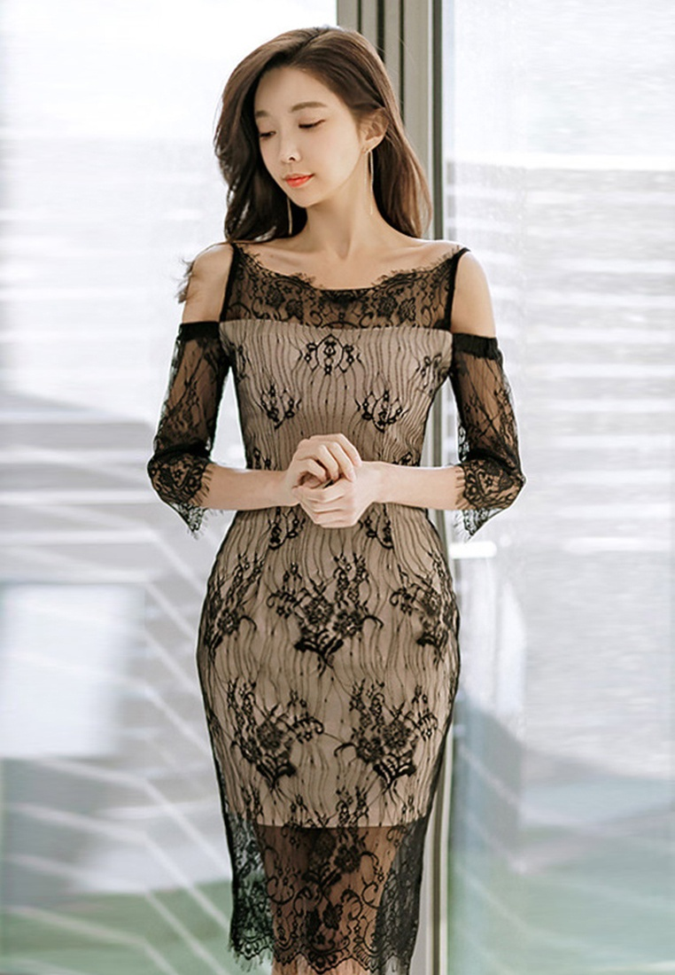 Off UA032019 Shoulder New 2018 Black Sunnydaysweety Black Piece One Lace Dress x4wCf6wR