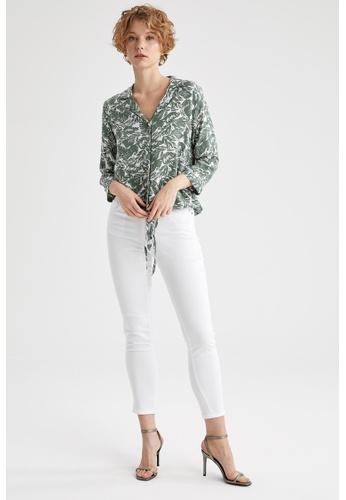 DeFacto green Woman Woven Long Sleeve Shirt F4994AA4C7F0B9GS_1