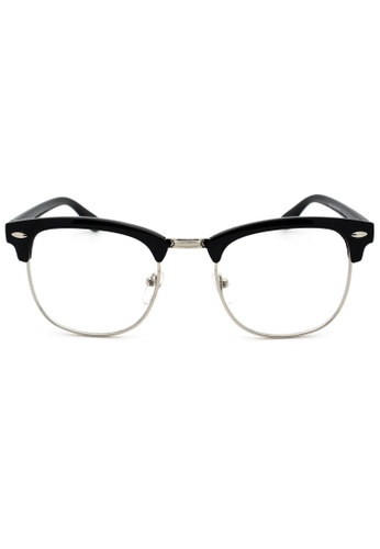 3558212aaaa5 Buy Elitrend Unisex Half Frame Designer Glasses in Black   Silver Online on ZALORA  Singapore