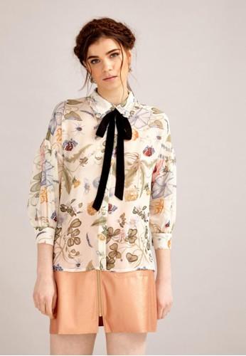 雪紡絲印esprit台灣花襯衫, 服飾, 上衣