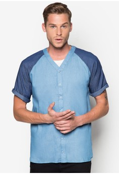 Denim Baseball Shirt With Raglan Sleeve
