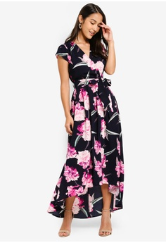 40a4f85283 49% OFF AX Paris Floral Tie-Waist Dress S$ 92.90 NOW S$ 47.10 Sizes 8 10 12  14