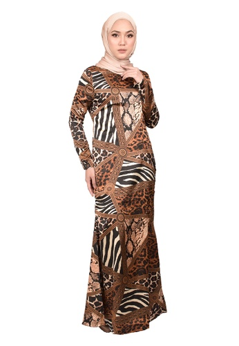 FATIMÉ black and white and brown Dress Leopard (Brown) C42EFAAA11D3F7GS_1