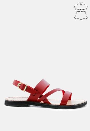 RAG & CO 紅色 脚踝皮带皮革平底凉鞋 B2550SHEE5F470GS_1