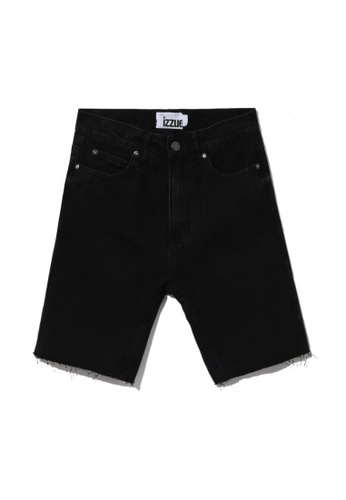 izzue black Denim biker shorts A5392AA30A5428GS_1