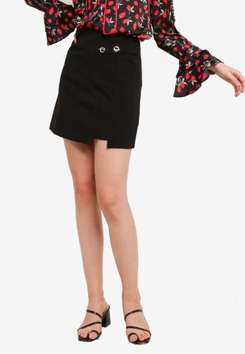 Hopeshow black Front Overlap A-Line Mini Skirt 5A734AA9958D6AGS_1