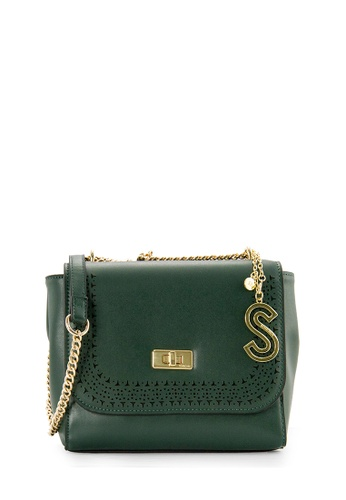 SEMBONIA green SEMBONIA Synthetic Leather Saddle Flat Crossbody Bag (Green) 02AF5AC374F71BGS_1