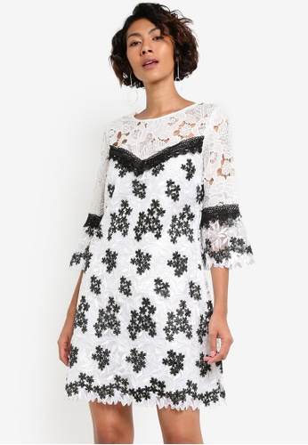 Miss Selfridge white Premium Lace And Embellish Organza Dress MI665AA09BBQMY_1