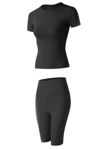 Sunnydaysweety black Skinny Top with Bike Shorts Set A081020BK 5868BAA6D75C76GS_1