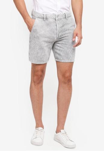 Topman grey Grey Stripe Slim Shorts 9ABD8AAD1DF628GS_1