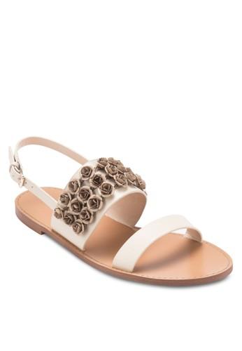 zalora 泳衣立體花飾繞踝涼鞋, 女鞋, 涼鞋