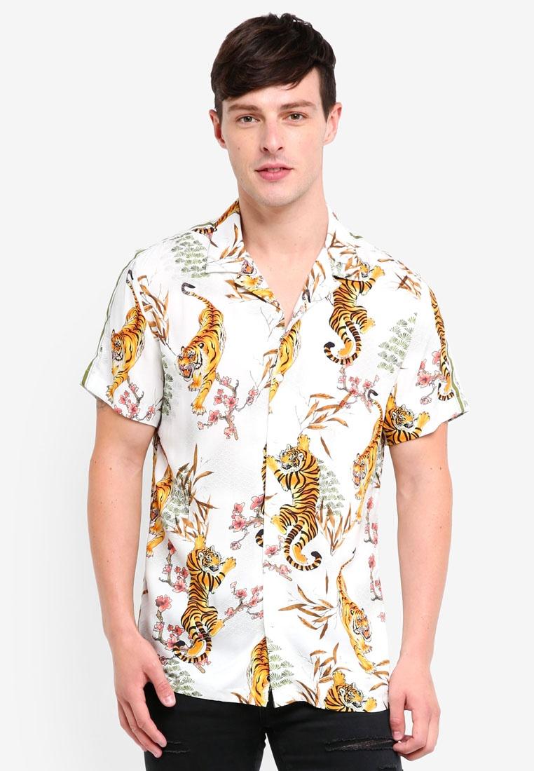 White Island Print Tiger River Tape Shirt XYxA8