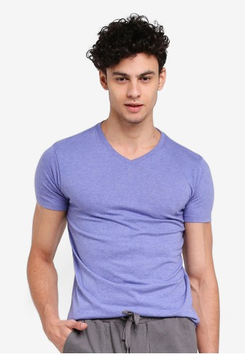 Penshoppe blue Semi Fit Tee With Special Print Effect E9ACBAA6D69D76GS_1