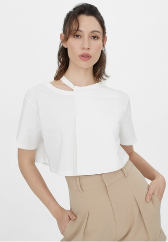 Pomelo white Cut Out Neck Crop Tee - White 18EFAAA0596BC3GS_1