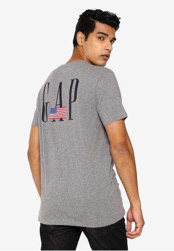 GAP grey Logo Flag Tee 2CC82AA40198F4GS_1
