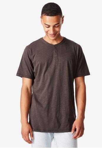 Cotton On black Slub Grandad Tee 2C763AAF1B3E43GS_1