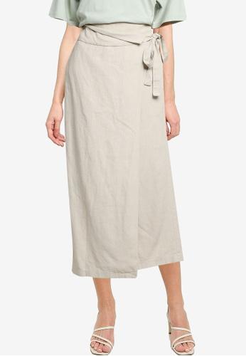 LOWRYS FARM white Wrap Tie Midi Skirt 5CB68AA20F9DC3GS_1