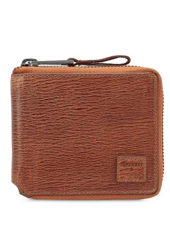 SUPERDRY brown Benson Zip Wallet 90686AC557B122GS_1
