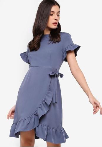 ZALORA blue Ruffles Sheath Dress C4D96AA94A65ADGS_1
