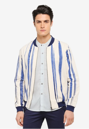 ZALORA white and blue and multi Striped Linen Bomber Jacket DF086AA4AB5E99GS_1