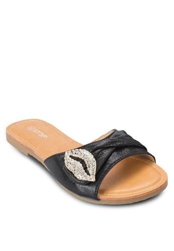 亮面閃石褶飾寬帶esprit香港門市涼鞋, 女鞋, 鞋