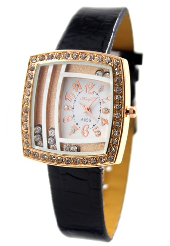 World of Watches black and gold Hong Li Elizabeth Leather Stoned Watch A855 WO566AC19JKMPH_1