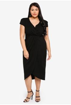 90b2c822fcb23 20% OFF Goddiva Plus Size Front Pleat Tulip Midi Dress S$ 87.90 NOW S$  69.90 Sizes 16 18 20 22 24