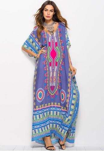 Kings Collection purple African Ethnic Print Beach Long Dress (KCCLSP2102) 55BCFAA5C8DF27GS_1