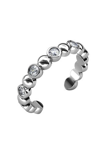 Her Jewellery silver Evelyne Ring (White Gold) - Made with premium grade crystals from Austria D3D39AC5669404GS_1